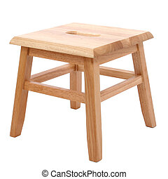 Wooden Stool Over White - Small four legged wooden step...