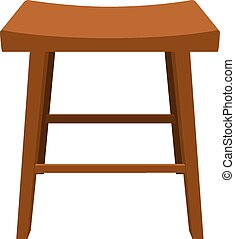 Wooden stool with a biometric seat. Vector illustration.