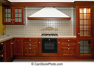 Wooden stove - Big and new traditional look wooden kitchen