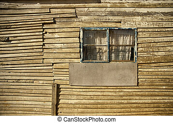Wooden strips as wall
