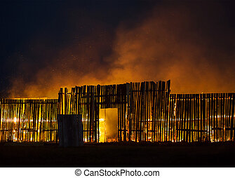 Wooden structure on fire