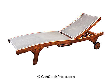 Wooden sunbed with wheel isolated.