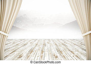 Wooden surface and curtains