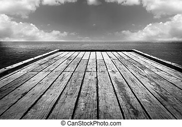 Wooden Surface Sky Background Black and White
