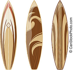 surfboards - wooden surfboards isolated on white background...
