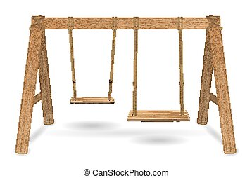 wooden swing vector on a white background