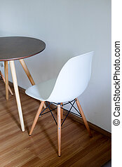 Wooden table and chair in living room