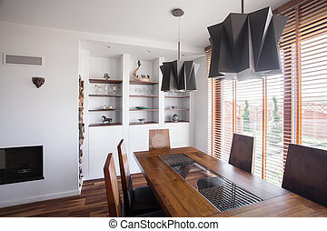 Wooden table and chairs in a dining room