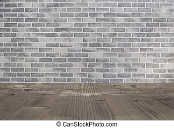 Image of wooden table in front of grey brick wall. Empty table and retro brick wall
