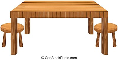 Wooden table and stools on white background