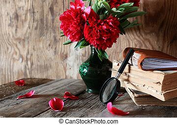 wooden table, bloem, oud, boek