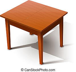 Wooden table. Eps10 vector illustration. Isolated on white background. Transparent objects and opacity masks used for shadows lights drawing