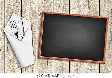 Menu on the chalkboard.