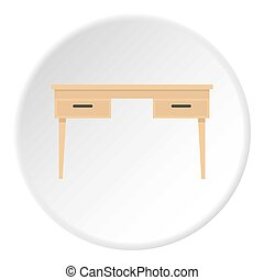 Wooden table icon circle