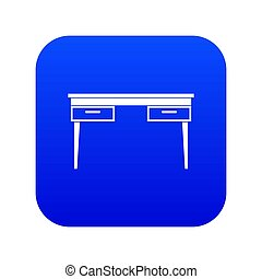 Wooden table icon digital blue