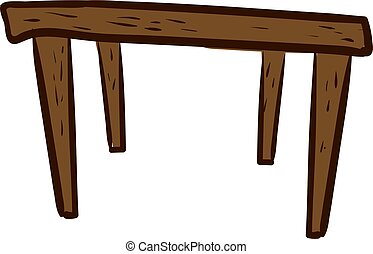 Wooden table, illustration, vector on white background.