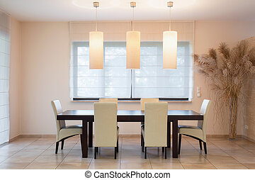 Wooden table in dinning room - Fashionable wooden table in...