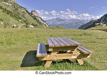 wooden table in grassery mountain