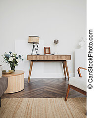 wooden table in interior.
