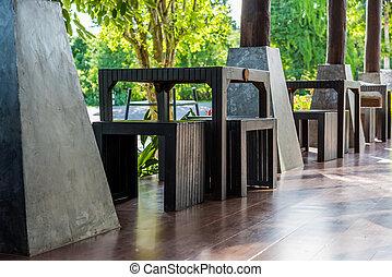 Wooden table in restaurant