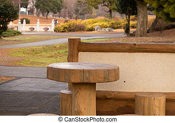 Wooden table in the park