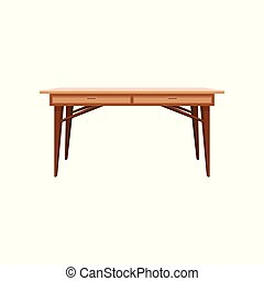 Wooden table, interior design element vector Illustration on a white background