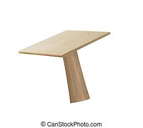 wooden table isolated on white blackground