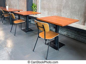 wooden table, kamer, lege, grijze
