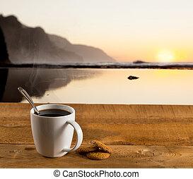 wooden table, koffie, oceaan, kop