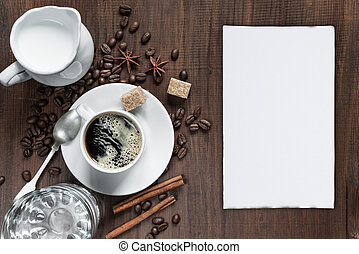 wooden table, koffiekop