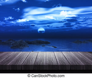 Wooden table looking out to sea at night - 3D render of a...