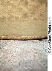 wooden table, met, achtergrond
