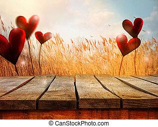 wooden table, met, landscape, en, hearts., valentines, achtergrond