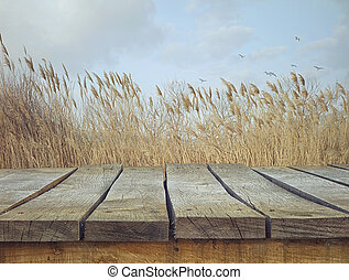 wooden table, met, landscape