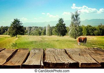 wooden table, met, lente, achtergrond