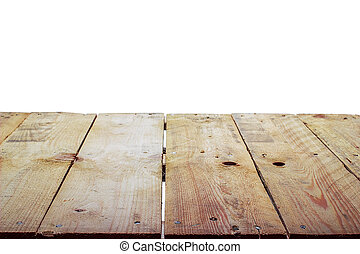 Wooden table on a white background