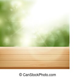 wooden table on background of trees