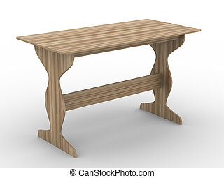 wooden table on white background. Isolated 3D image.