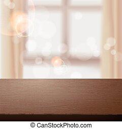 wooden table, op, vaag, interieur, scène