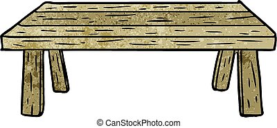 wooden table, spotprent