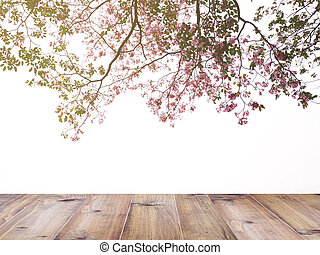 pink trumpet flowers tree over white background