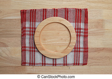 wooden table top with Kitchen ware for background