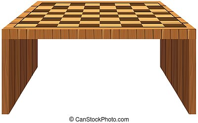 Wooden table with checker pattern on top
