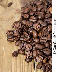 Wooden Table with Coffee Beans