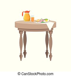 Wooden table with food for breakfast vector Illustration on a white background