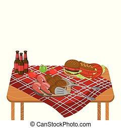 Wooden table with typical picnic meal, burgers, steaks, vegetables and beer bottles on tablecloth cartoon vector Illustration