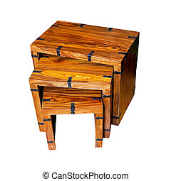 Wooden tables - Three wooden tables isolated included...