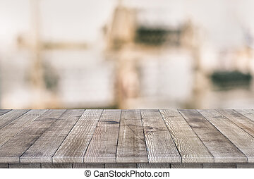Wooden tabletop perspective for product placement or montage...