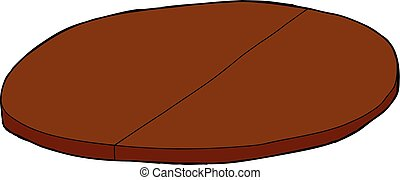 Wooden Tabletop with Partition - Single cartoon wooden round...