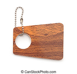 wooden tag isolated on white background